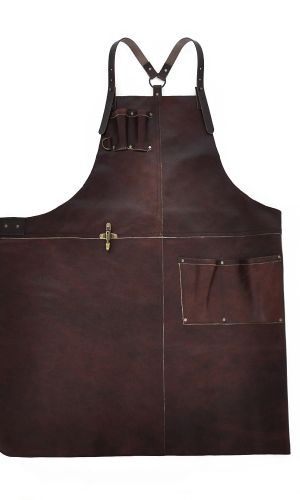 Handcrafted Leather Apron Reddish Brown