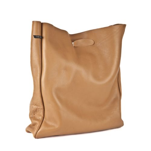 Leather shopper 'Lastic Bag' Camel