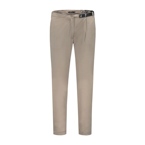 Side-belt trousers beige