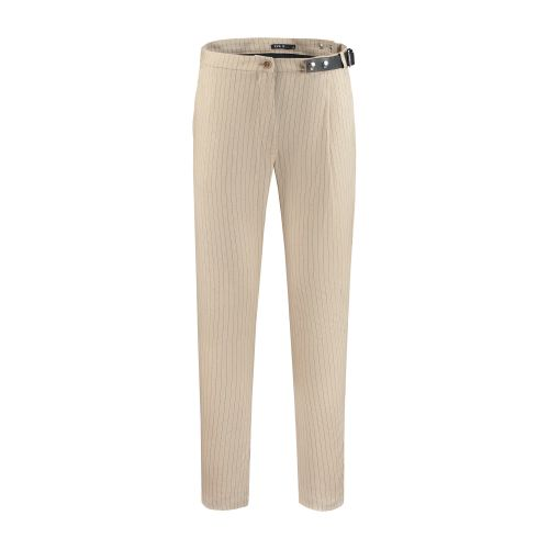 Side-belt trousers with pinstripe