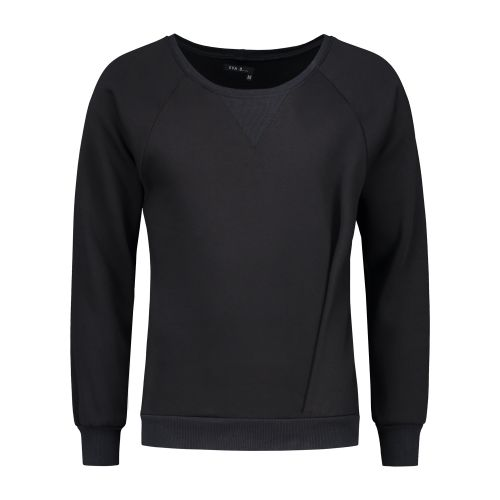 Asymmetrical Pleated Sweatshirt Black